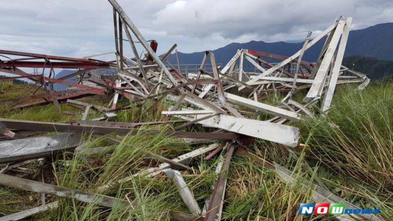 因尼莎台风强劲风力,造成和平电厂输送电力大减,目前正在紧急抢修中(图/和平电厂提供,2017.07.30)